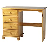 Right Deals UK Pine Desk with Bun Turned Feet and 4 Drawers - Hampshire Solid Pine Bedroom Furniture Range