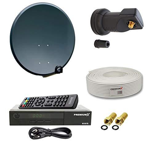 PremiumX Digital Sat Anlage 80cm Stahl Schüssel Spiegel Antenne Anthrazit Single LNB 0,1dB für 1 Teilnehmer + Digital HDTV DVB-S2 Satellitenreceiver inkl. HDMI Kabel