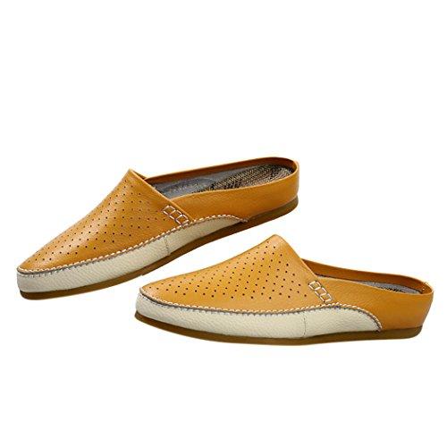 Spades et clubs d'été pour homme en cuir respirant antidérapant sur dos ouvert Chaussons Mules Chaussures Appartements Jaune - jaune