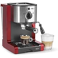 Beem 02051Espresso Perfect   Machine à expresso pour poudre & Pads (1350W, 15Bars)   Expresso, cappuccino, latte macchiato, XXL-Crema, Café Lungo   Rouge Brillant