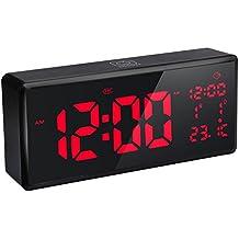 VADIV Reloj Despertador con Alarma Dígitos Grandes Pantalla led Digital de 8.9