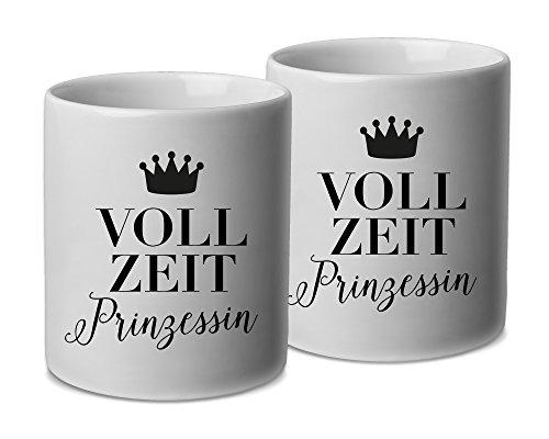 VISUAL STATEMENTS Tasse - 2er Set - schöne Becher mit Spruch; Keramik in weiß - Kaffeetassen mit Sprüchen - spülmaschinenfeste Tassen; Becher für Heissgetränke -