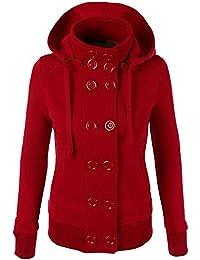 Mujer Abrigo Chaqueta de Paño Doble Botones Clásico Jacket Sudadera ...