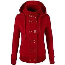 Mujer Abrigo Chaqueta de Paño Doble Botones Clásico Jacket Sudadera con Capucha