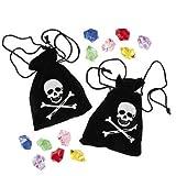 6 Stück Piraten Schatzbeutel, Piraten-Beutel mit Edelsteinen Schatz Piratenparty Palandi®