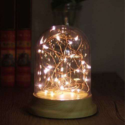 PDDXBB Romantisches Led-Nachtlicht Kupferdraht Beleuchtet USB-Ladeschreibtischlampe Glasfeuerlampe Schreibtischlampe Hauptdekoration Warmes Gelbes Licht 12 * 17 * 11Cm