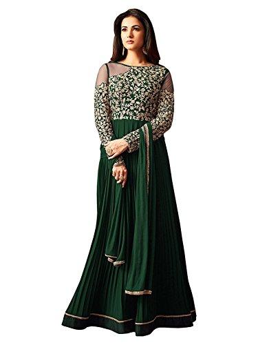 khileshwai fashion Designer Green Faux Georgette Festive Wear Anarkali Salwar Kameez (salwar_ER10492_free...