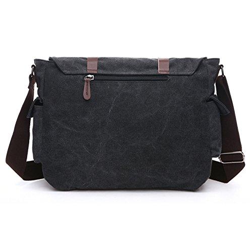 Outreo Vintage Schultertasche Herren Umhängetasche Messenger Bag Kuriertasche Aktentasche Herrentaschen Canvas Taschen für Laptop Reisetasche Sporttasche Schwarz