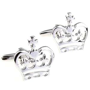 cufflinks Couronne autrichienne exquis évider laiton argenté modélisation de manchette Boutons de manchette des hommes de qualité plaquent blanc acier haut avec boîte-cadeau 156207