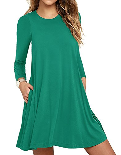 HAOMEILI Damen Langarm Stretch Casual Loose T-Shirt Kleid L Dunkelgrün (Shirt Grünes Kleid)
