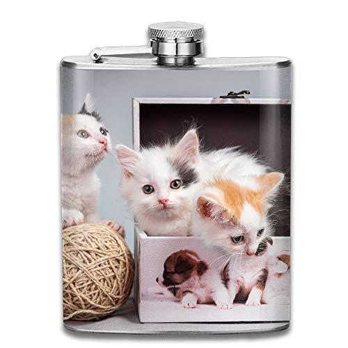 Edelstahl Flachmann,Kittens Boxes Cat Gifts Top Shelf Flasks Stainless Steel Flask 7 OZ for Men Women