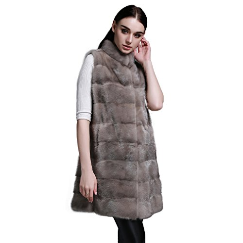 Fur Story 162113 Femme Long Vest R¨¦el Veste de Fourrure 85cm Longueur Argent Bleu