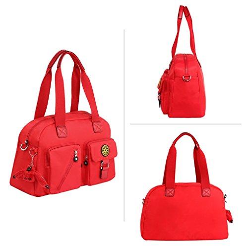 LeahWard Frauen Duffle Umhängetasche Mittlere große Handtaschen mit Lots Taschen 00541 (Grau Kreuzkörper) Rot