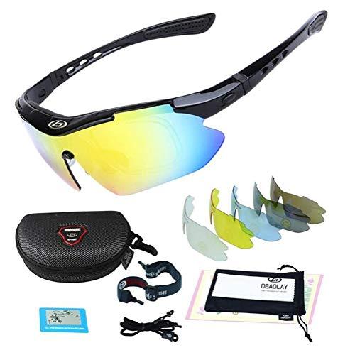 Mountainbike Verfärbung Radsport-Brillen Freien Radsport-Brillen HD PC Sport-Sonnenbrillen Polarisiertes Licht UV-Schutz Augenschutz Herren/Damen Schutzbrillen Kommt mit 5 Wechselobjektiven