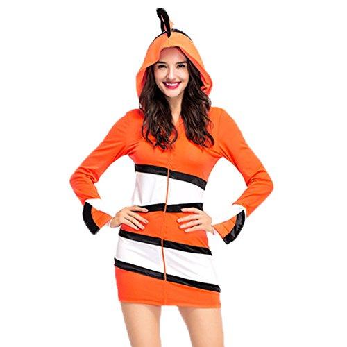 Costour Damen Clownfisch Cosplay Rolle Spielen Kleid Mantel mit Streifen Eltern-Kind-Kleidung -