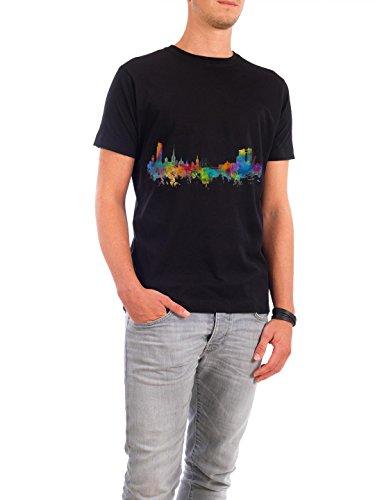 """Design T-Shirt Männer Continental Cotton """"Halmstad Sweden Watercolor"""" - stylisches Shirt Städte Reise Architektur von Michael Tompsett Schwarz"""