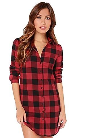 Davidlove Women Long Sleeve Plaid Shirt Cotton Turn Down Collar