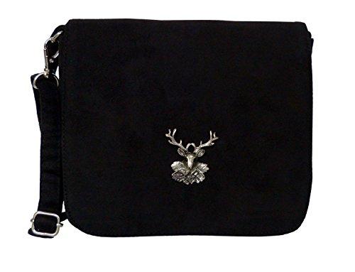 Trachtentasche Wildleder-Look - Dirndltasche mit Hirsch Applikation - Umhängetasche fürs Dirndl Schwarz