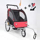 Style home® 2 in 1 Fahrradanhänger Kinderanhänger 360° drehbar Vorrad Jogger Buggy Kinderwagen für 1-2 Kinder Radanhänger Transportanhänger mit Kupplung und Beleuchtung (Rot-Weiße)