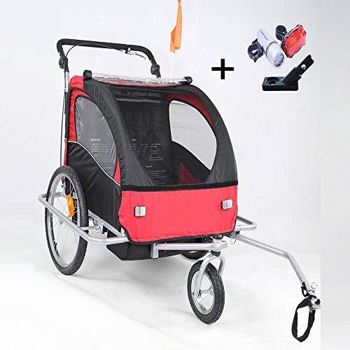Preisvergleich Produktbild Style home® 2 in 1 Fahrradanhänger Kinderanhänger 360° drehbar Vorrad Jogger Buggy Kinderwagen für 1-2 Kinder Radanhänger Transportanhänger mit Kupplung und Beleuchtung (Rot-Weiße)