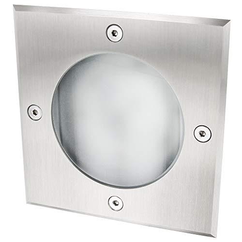 GX53 Edelstahl Slim Bodeneinbauleuchte eckig - Befahrbar bis 2000kg - IP65 wasserdicht - Aluminium-Gehäuse - Edelstahl-Abdeckung - matte Glasabdeckung -