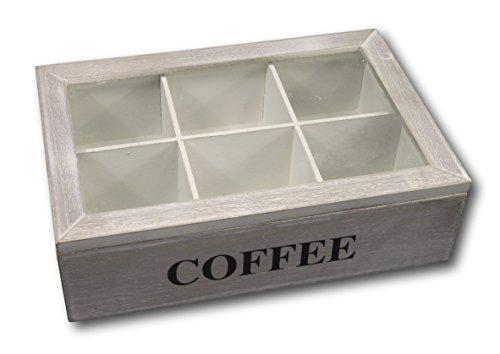 Kaffeebox Kaffeedose Kaffee-Pad Kasten Kiste Kaffeepad Aufbewahrung aus Holz mit 6 Fächern und...