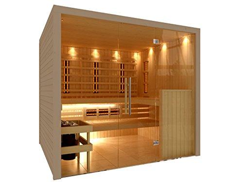 Outdoor-infrarot-sauna (C-Quel Royal Sauna Infrarot Kombination Glasfront 2266mm x 1955mm x 2040mm inkl. Zubehörset 9kW Saunaofen)
