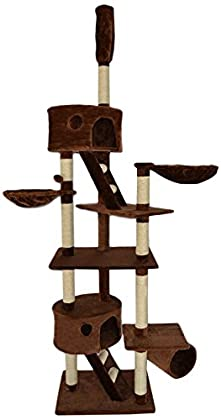Dibea KB00402 Árbol Rascador Escalador para Gatos, 240-260 cm, Altura Ajustable del Techo Marrón