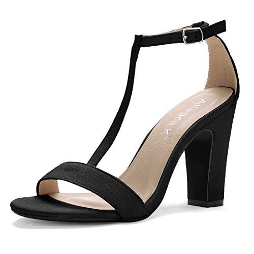 Toe T-bar (Allegra K Damen offene Zehen hohe Blockabsatz T-Riemen Kleid Sandalen Sandalette, Schwarz/EU 37.5)