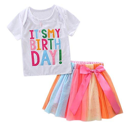 e Mädchen Buchstaben T-Shirt + bunte Regenbogen Röcke Geburtstag Geschenk Outfits Set ()