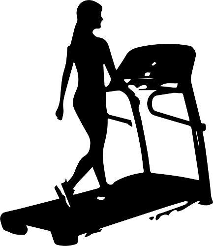 Wandtattoo: Laufband, Fitnessstudio, Training, Sport, Frau // Farb- und Größenwahl (Orange - 690 mm x 600 mm) -
