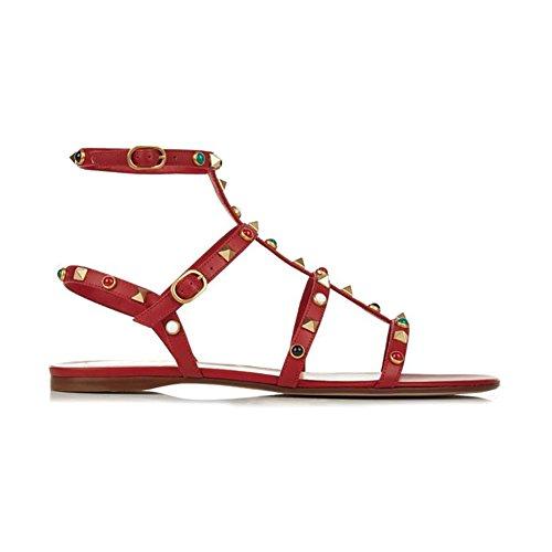 stud Mulheres Sandálias Planas De Sapatos Merumote Y Escuro Rebites Salto 178 vwaOFv8Tq