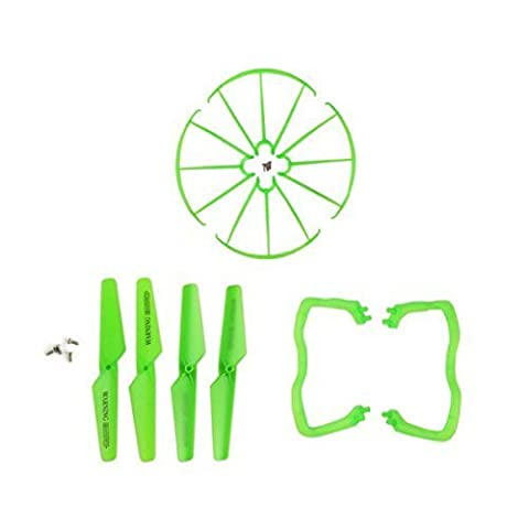 Coolplay® Syma X5 X5C X5C-1 Spare Parts 4pcs Main Blade Propellers & 4pcs Propeller Protectors Blades Frame & 2pcs Landing Skid Included 8pcs Mounting Screws for RC Mini Quadcopter Toy(Green)