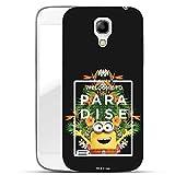 Hülle für Samsung Galaxy S4 - Minions Handyhülle mit Motiv und Optimalen Schutz Tasche Case Hardcase Cover Schutzhülle - Welcome to Paradise