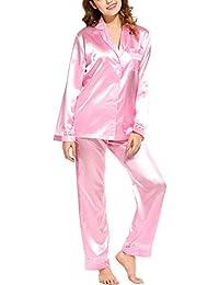 HOTOUCH Mujer Camisones Conjunto de Pijamas de Satén de Manga Larga Prenda Ropa de Dormir