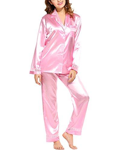 HOTOUCH Damen Pyjamas Sets Schlafanzug Nachtwäsche Nachthemd aus Seide