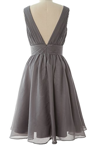 MACloth Women Short Bridesmaid Dress Straps V Neck Cocktail Party Formal Gown Burgunderrot