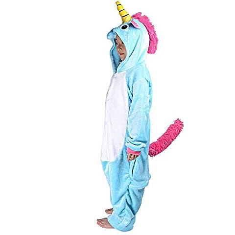 Deguisement Enfant Pyjama Combinaison Animaux Pyjama Polaire Enfant Licorne Halloween Cosplay Costume