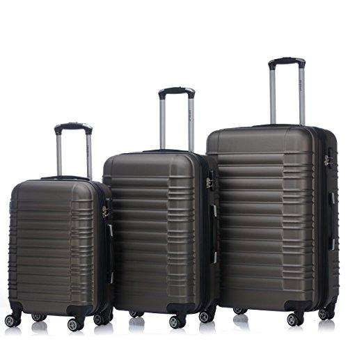 Zwillingsrollen 2088 Reisekoffer Koffer Trolleys Kofferset Reisekofferset Hartschale in 14 Farben(Braun)