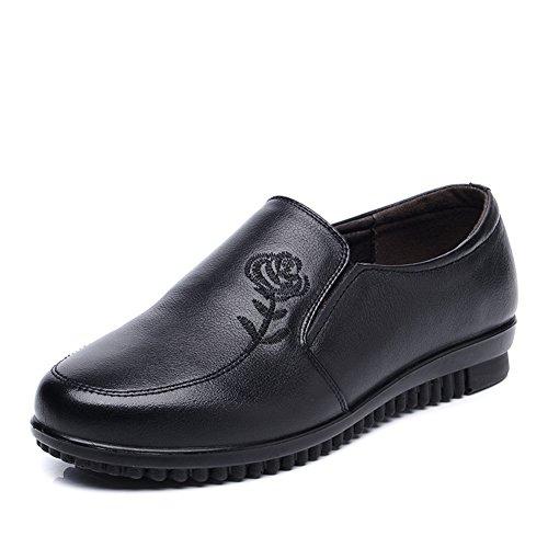 Scarpe di donne di mezza età/Mamma e scarpe inferiori molli/Ballerine Scarpe/Scarpa folk stile ricamo-A Lunghezza piede=25.3CM(10Inch)