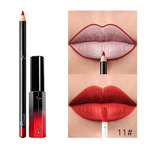 Nouveau Mode Matte,Set De CosméTiques De Maquillage De Longue DuréE De Rouge à LèVres ImperméAble Mat Liquide Liquide Gloss Long Lasting Lipstick