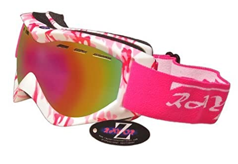 Rayzor Professional UV400 Double Lensed Ski / SnowBoard Goggles, With a Matt Pink Camouflage Frame with a Vented Anti Fog Coated, Pink Iridium Mirrored Anti-Glare Clarity Wide Vision Lens. - Bambini Attacchi Da Snowboard