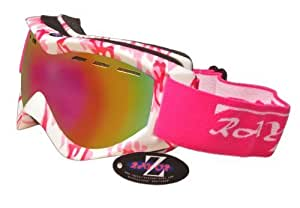 Rayzor Professional UV400 Double Lensed Ski / SnowBoard Goggles, With a Matt Pink Camouflage Frame with a Vented Anti Fog Coated, Pink Iridium Mirrored Anti-Glare Clarity Wide Vision Lens.