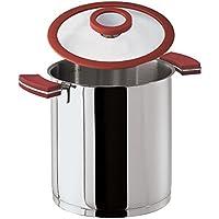 Sambonet 12'O'Clock Red Pentola Ø 16 cm con Coperchio, Acciaio Inox 18/10, Manici Antiscottatura in Silicone Rosso, con Interno Graduato