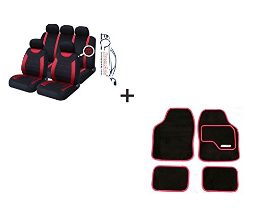 XtremeAuto® 9 PCE Sports Carnaby Red / Black Seat Covers + Matching Mat Set Includes XtremeAuto Sticker