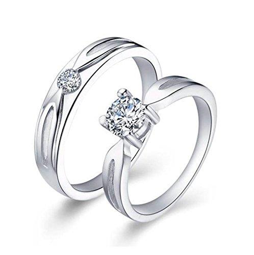 Bishiling Paarepreise Frauen Männer Silberring Rundschliff Weiß Zirkonia Verlobung Ringe Ehering Paarringe SilberDemen Gr.57 (18.1)&Herren Gr.54 (Beste Jahre Kostüme Paare 80er)