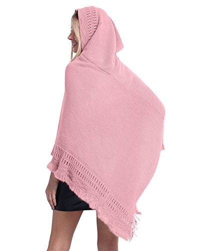 SUNNYME Damen Poncho Cape Schal Shawl Pullover Strickjacken Hooded Gestrickt Wrap Tops Rosa