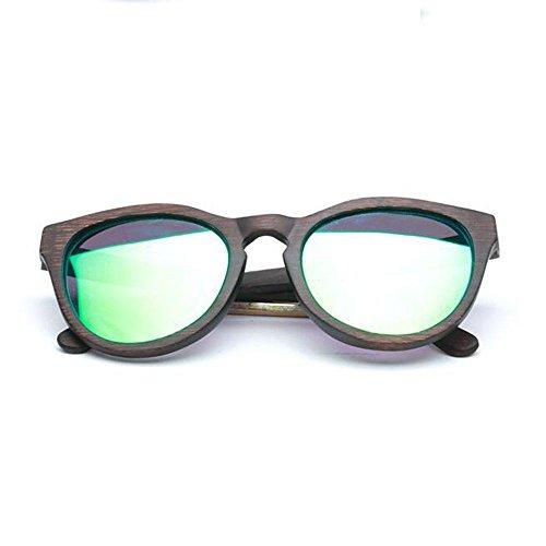 Z&YQ Sonnenbrille grüne Linse handgemachte Bambus hölzerne Eyewear Vintage Wayfarer Brillen yTUmmka