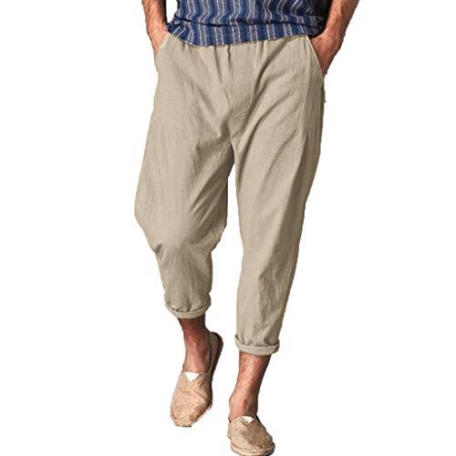 YU'TING ‿ Pantaloni di Lino Uomo Baggy Casual Pantalone Pinocchietti con Tasconi Uomo Harem Pantaloni da Jogging Casual Danza Pantaloni di Lino