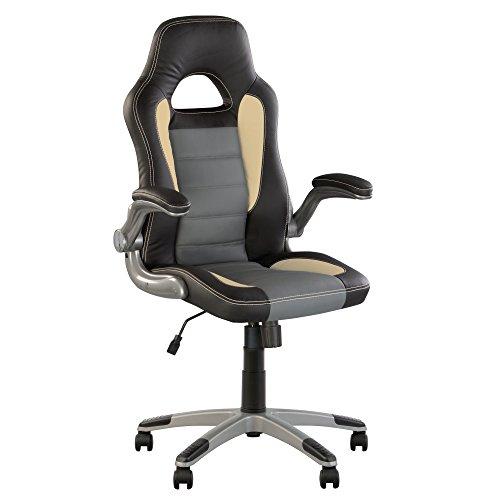 Racer- Fauteuil DE Direction Gaming.BASCULANT SYNCHRONE. Chaise DE Bureau Ergonomique PIVOTANTE. ACCOUDOIRS ESCAMOTABLES .Multi-Position. en ECO Cuir. (Gris/Noir/Beige)